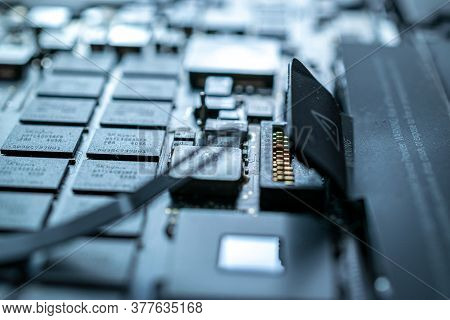 Solutions Services Electronic Hardware. Engineer Technician Man Upgrade And Maintenance Digital Pc.