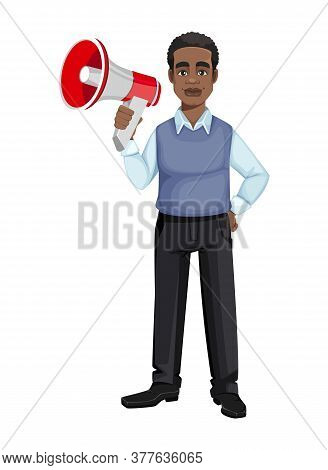 African American Business Man Holding Loudspeaker. Cheerful Handsome Businessman Cartoon Character.