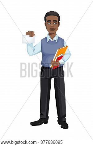 African American Business Man Holding Blank Card. Cheerful Handsome Businessman Cartoon Character. V