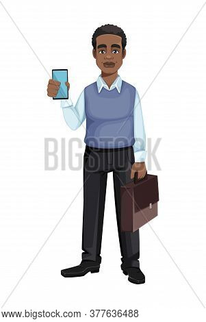 African American Business Man Holding Smartphone And Suitcase. Cheerful Handsome Businessman Cartoon