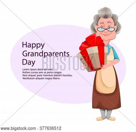 Happy Grandparents Day Greeting Card. Cute Smiling Old Woman. Cheerful Grandmother Cartoon Character