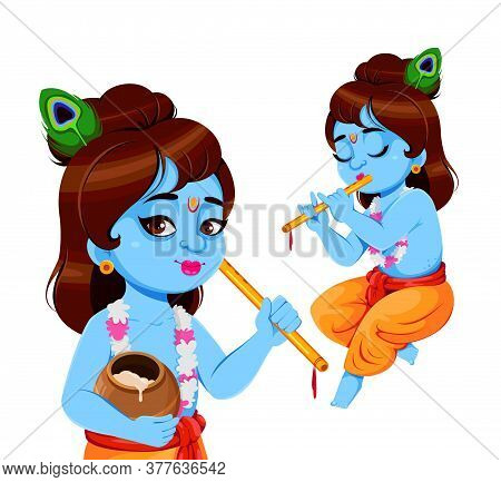 Happy Krishna Janmashtami, Set Of Two Poses. Lord Krishna With Flute. Happy Janmashtami Festival Of