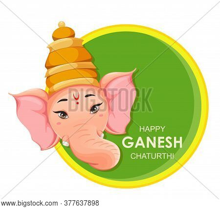 Greeting Card With Head Of Lord Ganesha. Ganpati Idol In Traditional Indian Clothes For Ganesha Chat