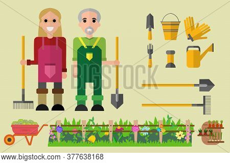 Gardening And Harvesting. Happy Man And Woman Gardening Cart With Cabbage, Cow, Dung, Rural Landscap