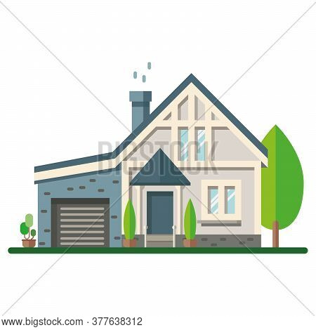 Colored House Exterior. Vector Illustration. House Icon. Facade Of House With Trees On White Backgro