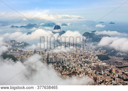 Rio City Center Downtown Panorama With Coastline And Sugar Loaf Mountain Covered In Clouds, Rio De J