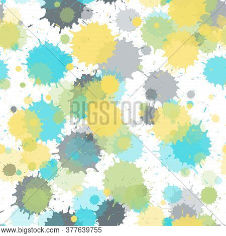 Paint Transparent Stains Vector Seamless Grunge Background. Graphic Ink Splatter, Spray Blots, Mud S