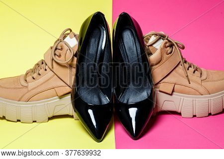 Fashionable Womens Shoes. Big Brown Leather Shoes And Black Patent Leather Shoes.