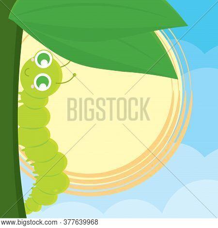 Cute Worm Cartoon Over A Leaf - Vector