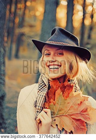 Sweet Young Sensual Sexy Woman Walking In Autumn Park. Autumnal Vogue Trend. Autumn Woman Having Fun