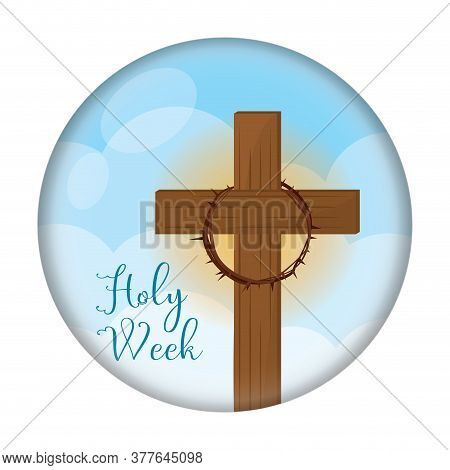 Holy Week Button. Cross And Crown Of Thorns - Vector