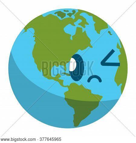 Earth Planet Cartoon. Planet Icon - Vector Illustration