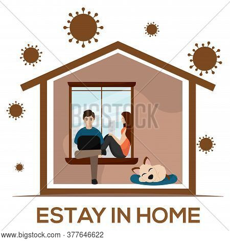 Couple Sitting On A Sofa. Stay In Home - Vector