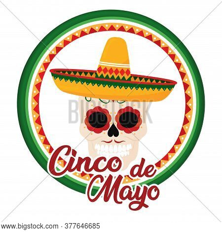 Cinco De Mayo Template With A Decorated Mexican Skull - Vector