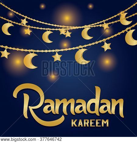 Ramadan Kareem Card With A Moon - Vector Illustration