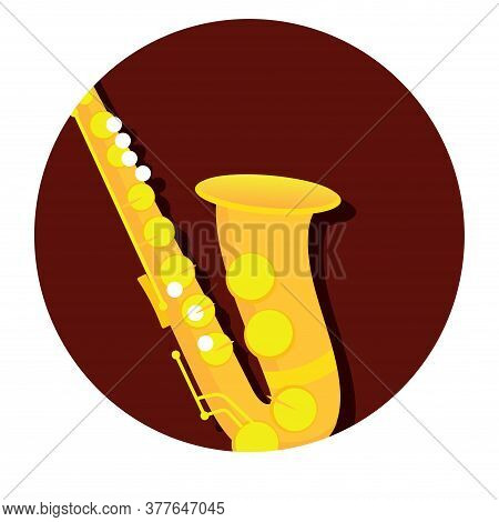 Classical Saxophone Image. Wind Musical Instrument - Vector
