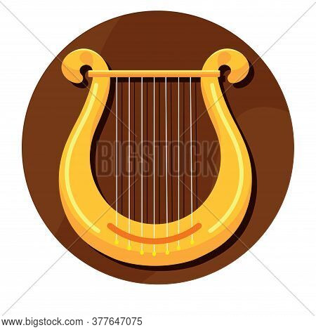 Lyric Harp. Lyre Image. String Musical Instrument - Vector