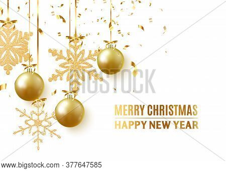 Golden Christmas Balls Background. Festive Xmas Decoration Gold Bauble And Bright Snowflake, Hanging
