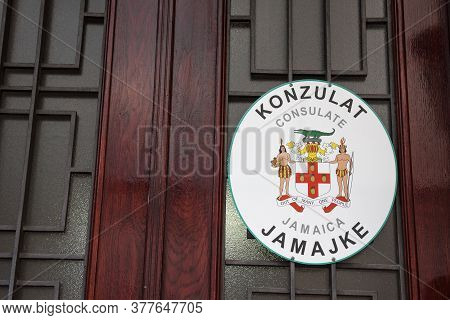 Belgrade, Serbia - July 10, 2018: Sign Indicating The Jamaican Embassy Of Belgrade With Its Coat Of