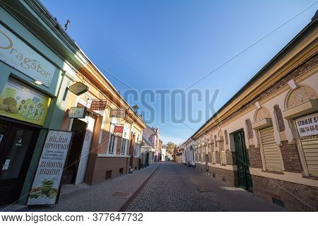 Zrenjanin, Serbia - November 23, 2019: Gimnazijska Street, A Pedestrian Street Of Zrenjanin With Typ