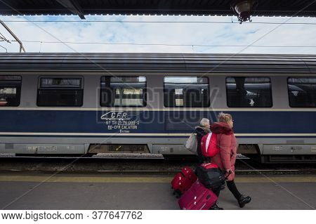 Bucharest, Romania - February 15, 2020: Cfr Calatori Logo On Intercity Train In Gara De Nord, Main R