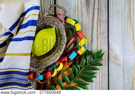 Religious Jews Of Sukkot Choose Etrog Fruit Of Traditional Fair Of Ritual Plants On The Eve