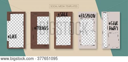 Mobile Stories Vector Collection. Blogger Trendy Frame, Social Media Kit Template. Hipster Sale, New