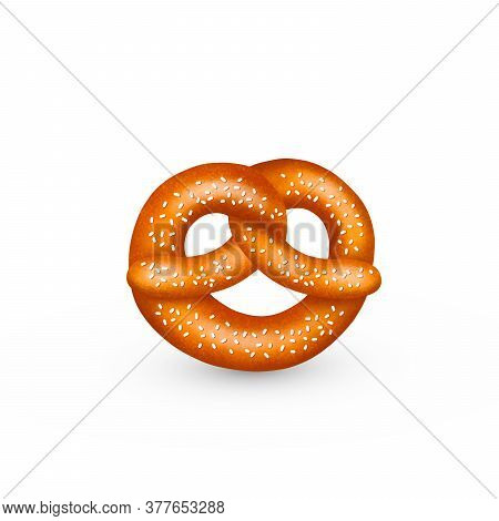 Realistic Tasty Pretzel With Salt Or Sesame, With Texture. Vector Illustration Isolated On White Bac