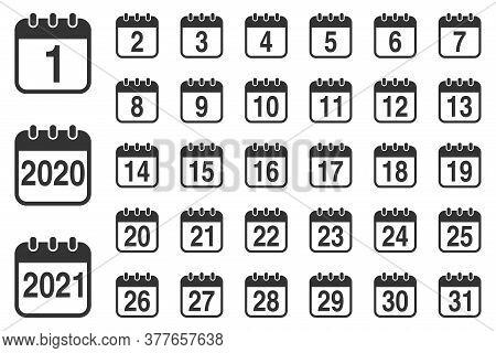 Calendar Icon 1-31. Calendar Icon Isolated On White Background. Calendar Icon 2020. Calendar Icon 20
