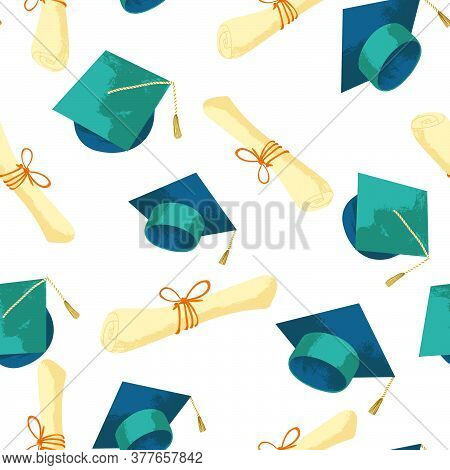 Graduation Caps With Diploma Hand Drawn Seamless Pattern. Vector Repeated Background With Academic H