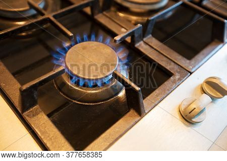Gas Stove Burner With Blue Flame. Gas.