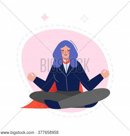 Super Businesswoman Wearing Red Cape Meditating In Lotus Position, Successful Superhero Business Cha