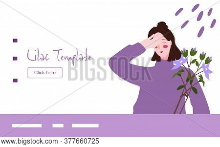 Lilac Woman Smile Happy Seeing Lilac Flower Campaign For Web Website Home Homepage Template Landing