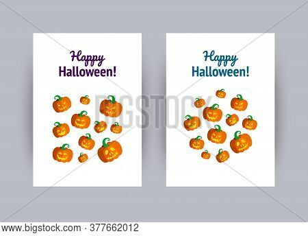 Greeting Card For Halloween Party. Set Of Carved Halloween Pumpkins. Vector Illustration In Flat Sty