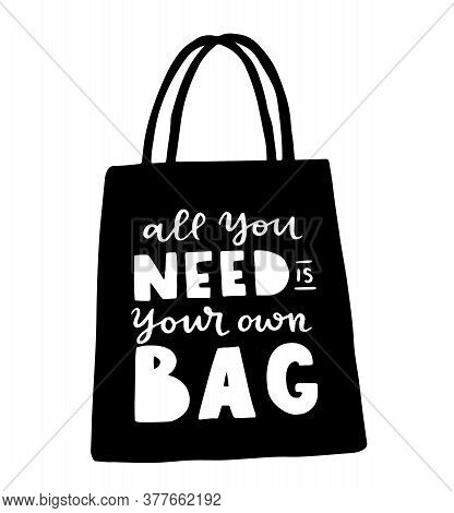Tote Bag With Hand Drawn Lettering. Plastic Free Future And Set Of Produce Bags For Shopping, Storag