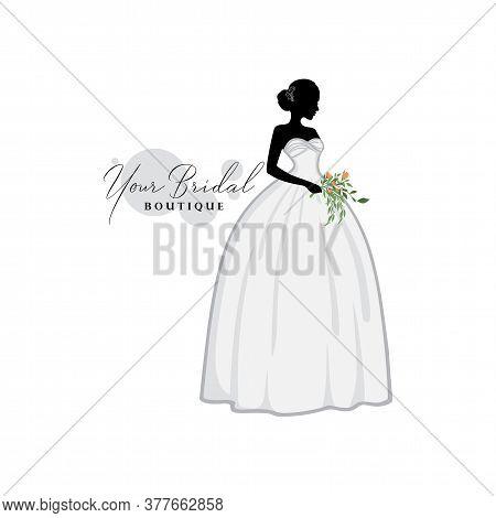 Silhouette Beautiful Bride With Flower Bouquet, Bridal Boutique Logo, Bridal Gown Logo Vector Design