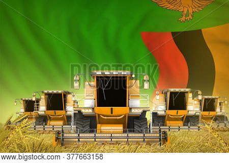 Many Yellow Farming Combine Harvesters On Rye Field With Zambia Flag Background - Front View, Stop S