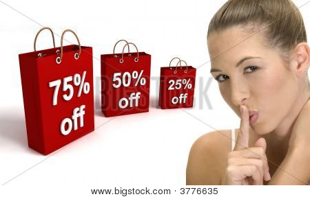 Three Dimensional Shopping Bags And Woman Gesturing Quite