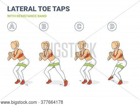 Lateral Toe Taps With Resistance Band Girl Silhouettes. Side Toe Steps With Mini-band Home Workout E