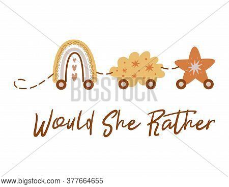 Would She Rather Boho Baby Shower Game Card With Train From Rainbow Cloud Star Cute Baby Shower Illu