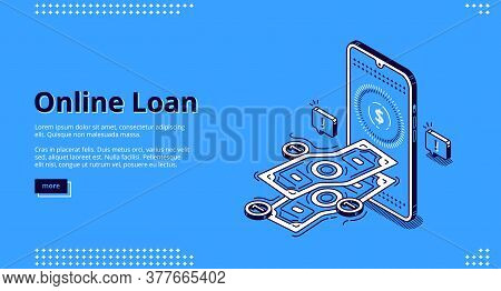 Online Loan Banner. Financial Lending By Mobile Application Or Computer. Vector Landing Page Of Bank
