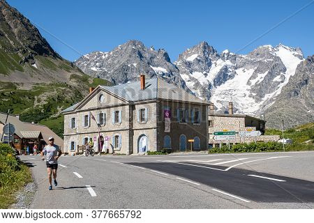 Col Du Lautaret, France - July 8, 2020: Col Du Lautaret Is A French Alpine Mountain Pass At 2642 Met