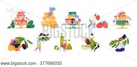Set Of Tiny Confectioner Characters Cooking Huge Birthday Cake. People Produce And Using Olive Oil.