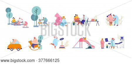 Set Of Parents Male Female Characters Playing With Children On Playground. Women Prepare For Child B