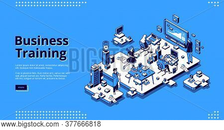 Business Training Banner. Conference, Seminar And Lecture For Team Education. Vector Landing Page Of
