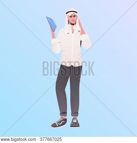 Arabic Businessman In Traditional Clothes Arab Male Cartoon Character Standing Pose Full Length Vect