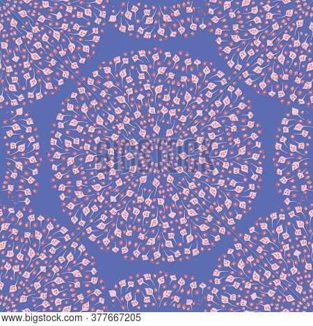 Pink And Blue Flowers And Leaves Medallion Seamless Vector Pattern. Decorative Ornamental Surface Pr