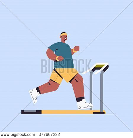 African American Sportsman Running On Treadmill Man Having Workout Cardio Fitness Training Healthy L