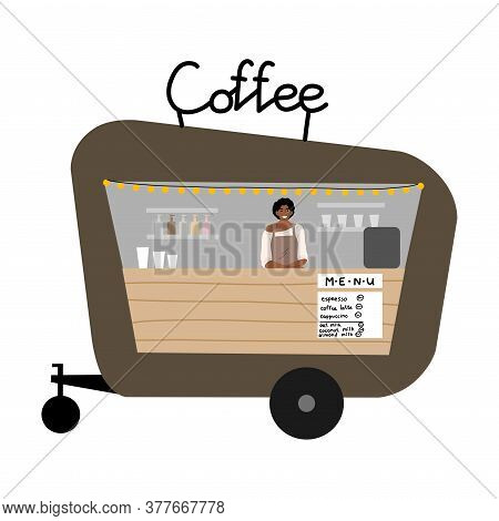 Food Truck With Coffee Drinks And Menu With Written Positions And Prices