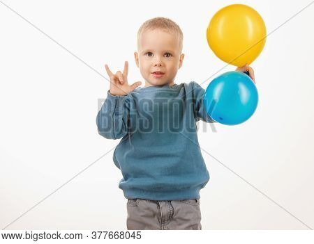 Little Boy Child Holding Balloons, Happy Childhood